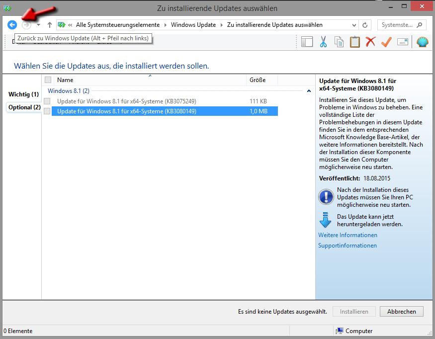 letztes update deinstallieren windows 10